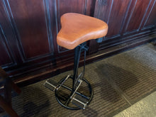 Load image into Gallery viewer, Vintage Retro Leather Bicycle Pedal Stool in Tan