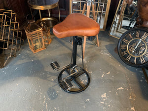 Vintage Retro Leather Bicycle Pedal Stool in Tan