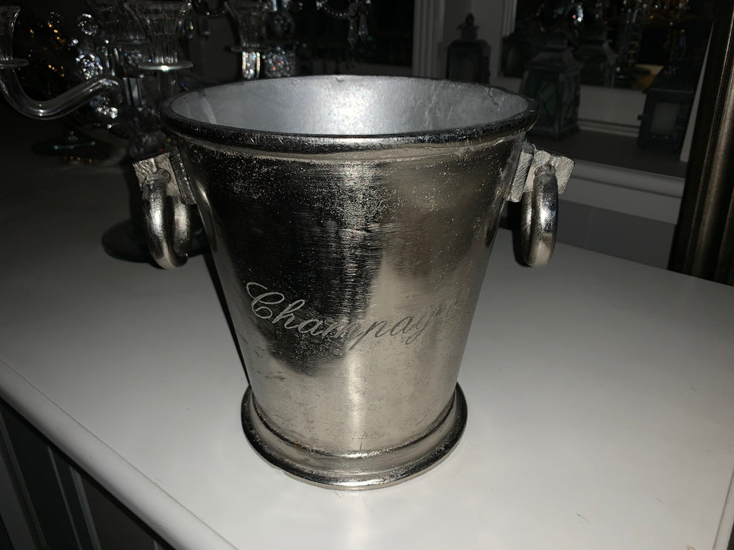 Heavy Nickel Champagne Bucket with Round Handles