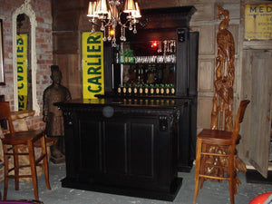 1.5m Black Front Counter & Mirrored Back Bar