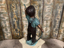 Load image into Gallery viewer, Cast Bronze Figure of a Boy Holding a Hose Pipe
