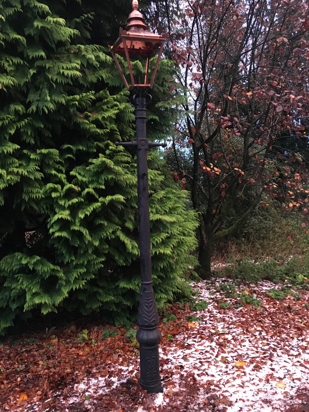 Cast Iron Lamp Post with Copper Top