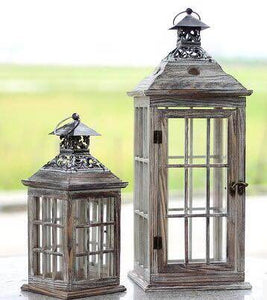 Brand New Boxed Pair of Wooden Glazed Candle Lanterns