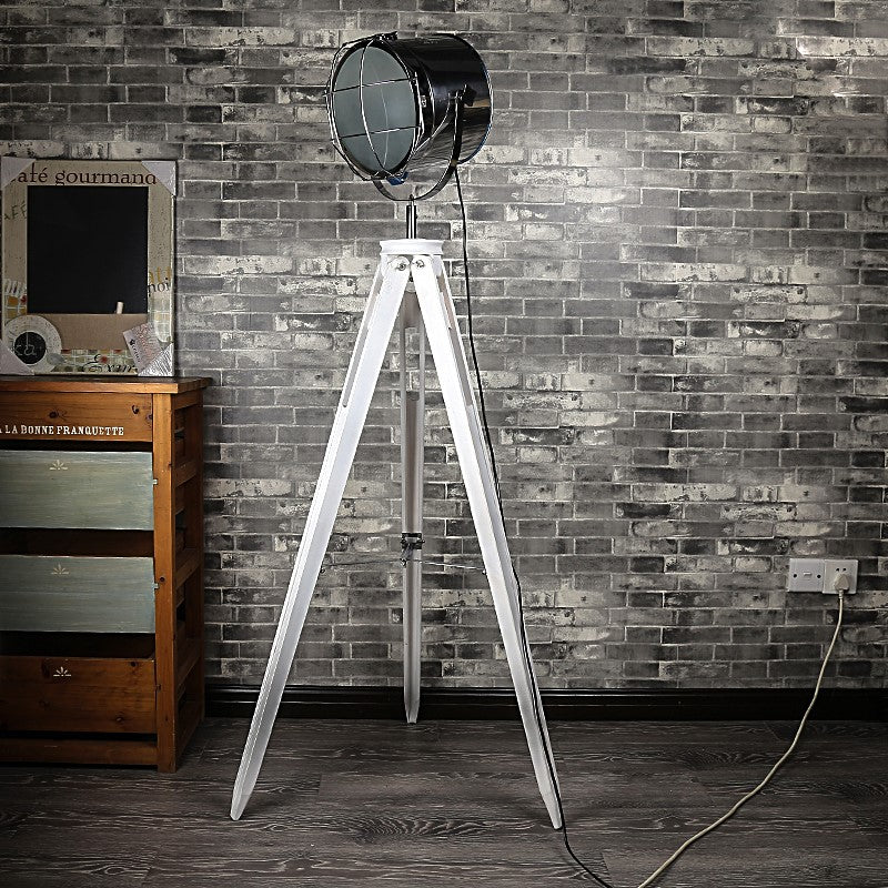White Tripod Light with Chrome Lamp
