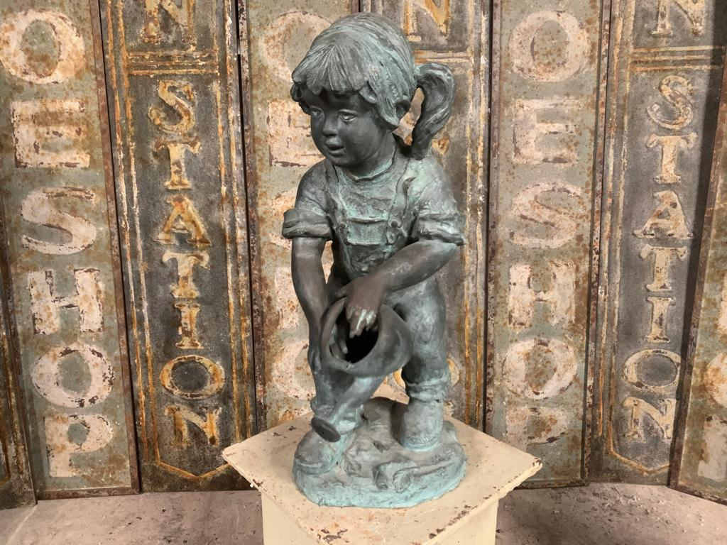 Cast Bronze Figure of a Girl with a Watering Can