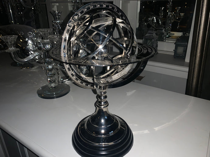 Eicholtz Style Heavy Nickel Globe on Black Stand