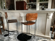 Load image into Gallery viewer, Pair of Vintage Leather Bar Stools in Tan