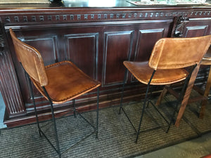Pair of Vintage Leather Bar Stools in Tan