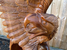 Load image into Gallery viewer, Striking Handcarved Highly Polished 2M High Wooden Detailed Eagle In Motion