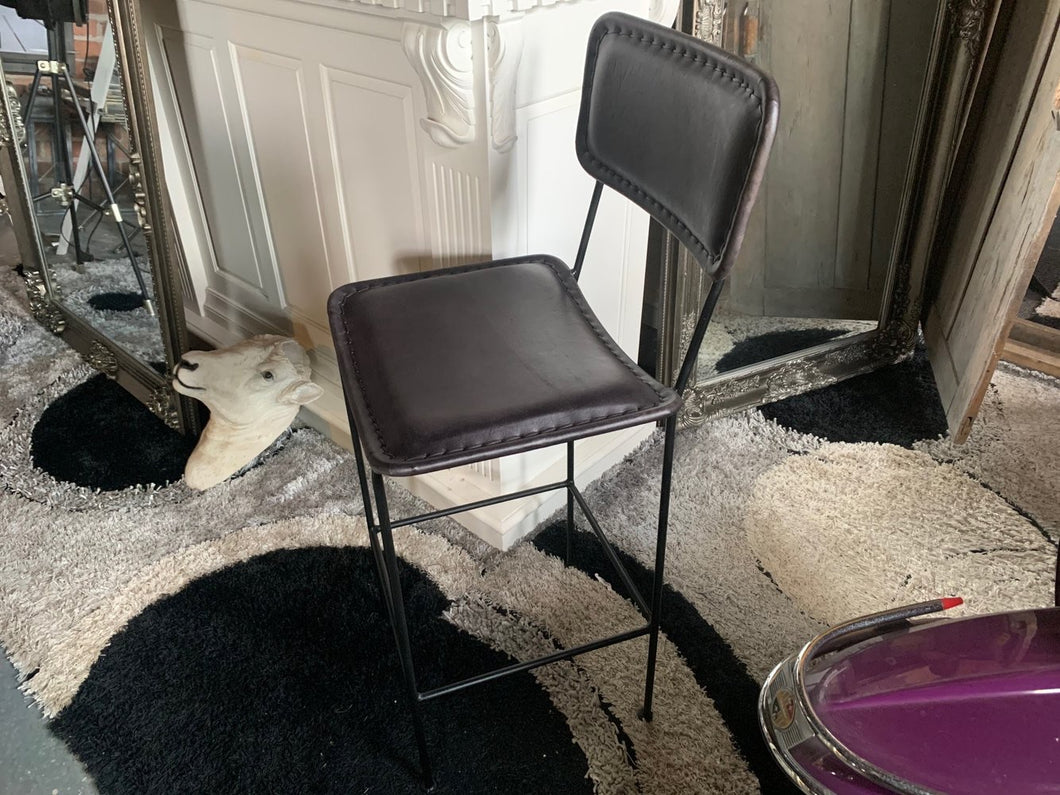 Single Vintage Leather Bar Stool in Black
