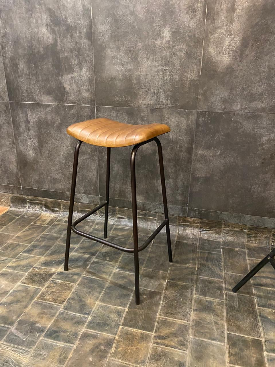 Ribbed Leather Bar Stool in Tan