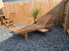 Load image into Gallery viewer, Teak Sunlounger