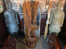Load image into Gallery viewer, Solid Wood Highly Carved Ornate Eagle 1.5m High Statue