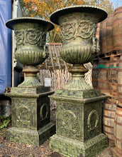 Load image into Gallery viewer, Pair of Massive Cast Iron Urns