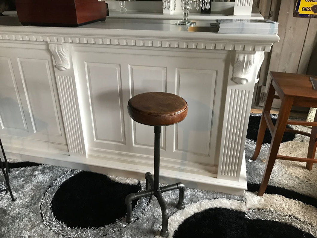 Industrial Scaffold Leather Bar Stool in Tan