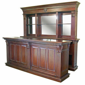 2.6m Period Mahogany Front Counter & Mirrored Back Bar