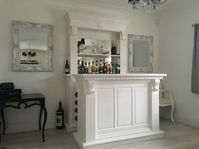 1.5m White Front Counter & Mirrored Back Bar