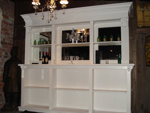 2.6m White Front Counter & Mirrored Back Bar