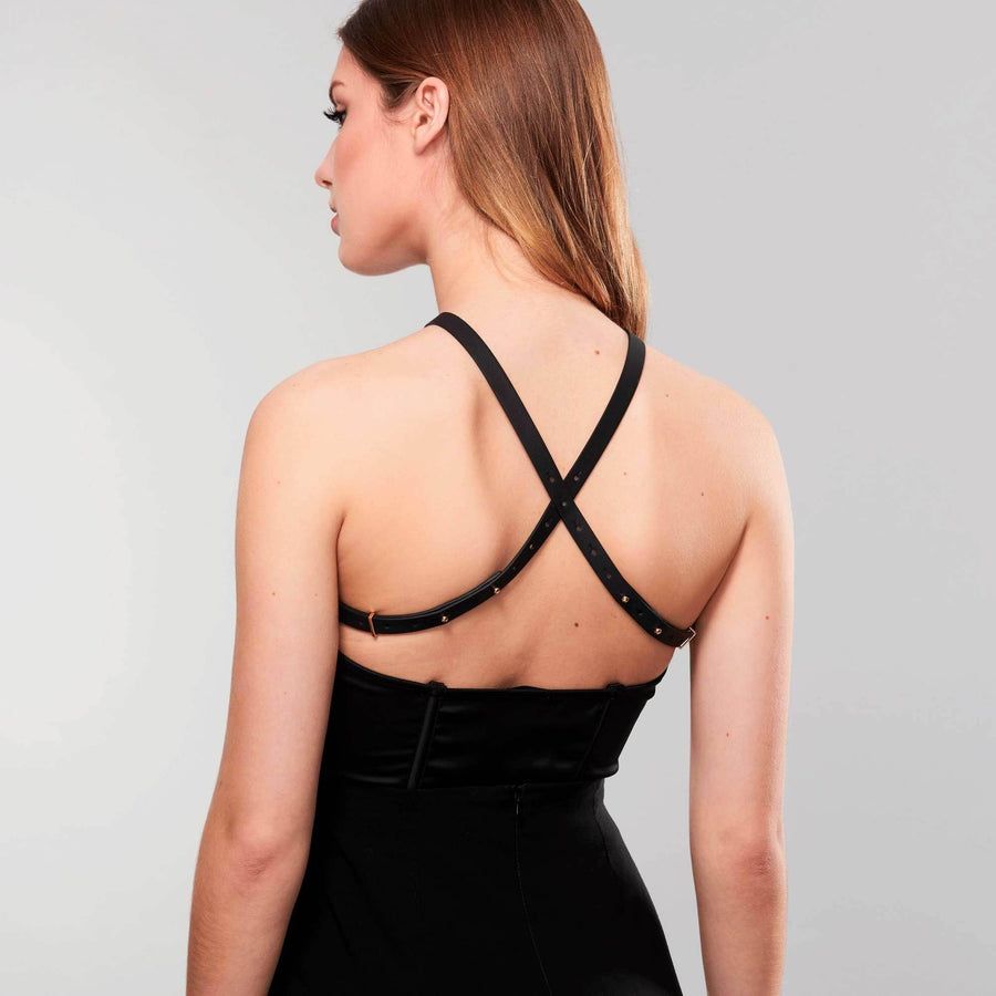 Woman wearing MAZE · Cross Chest Harness showing back by Bijoux Indiscrets
