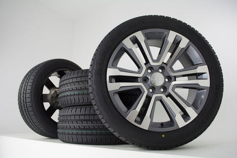 "oneroad-wheels - Machined Silver | GMC Yukon XL | 22"" Wheel x Tire Combo 