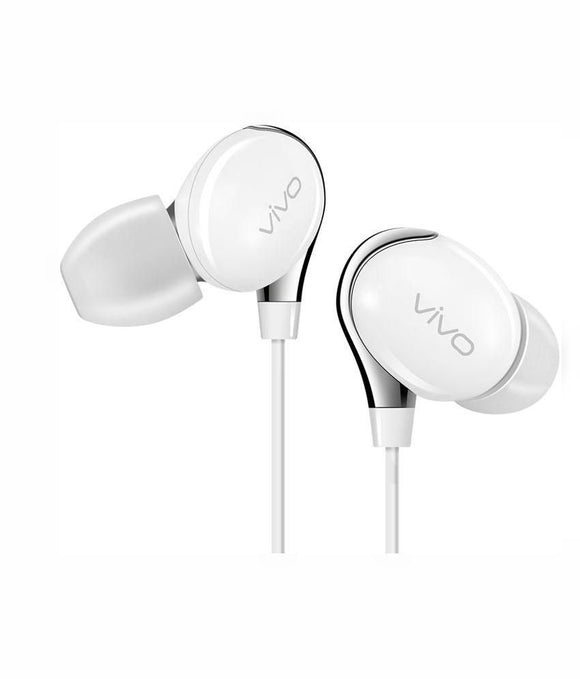 Vivo Wired Headset Handsfree Earphone For VIVO X20 Plus UD (High Bass , In-Ear , White , XE800)