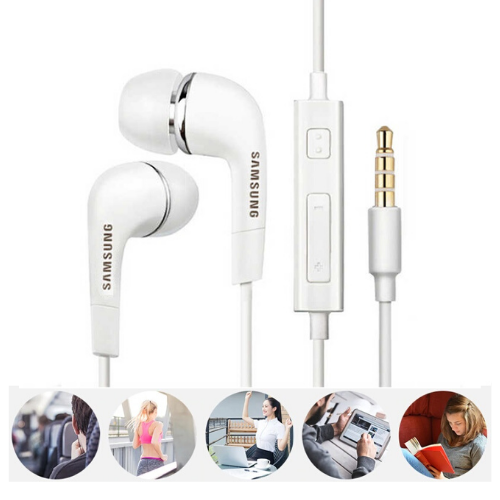 Samsung Wired Earphone Headset With Mic (High Bass , In-Ear ,White ,EHS64 )