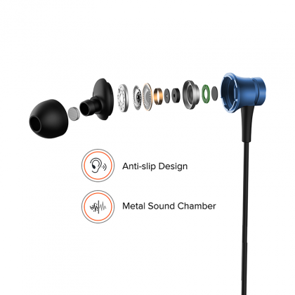 Redmi Basic Wired Headset Handsfree Earphone For Xiaomi Y1 (High Bass , In-Built Mic, Wired In-Ear ,Blue)