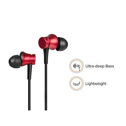 Redmi Basic Wired Headset Handsfree Earphone For Xiaomi Poco F1 (High Bass , In-Built Mic, Wired In-Ear ,Red)