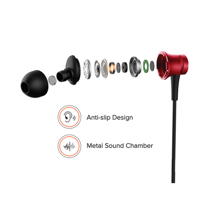Redmi Basic Wired Headset Handsfree Earphone For Xiaomi 6 Pro (High Bass , In-Built Mic, Wired In-Ear ,Red)