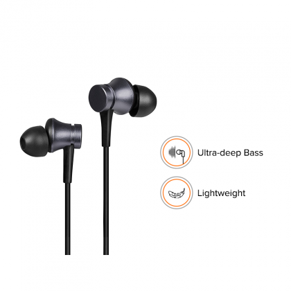 REDMI BASIC WIRED HEADSET HANDSFREE EARPHONE FOR XIAOMI Mi 7A (High Bass , In-Built Mic, Wired In-Ear ,Black)