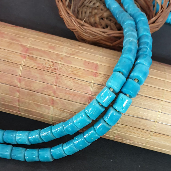 10mm Tube Nepali Turquoise Color Origin  Hole about 3~4mm By Kilo Approx Pcs in a Kilo about 650~750 Beads