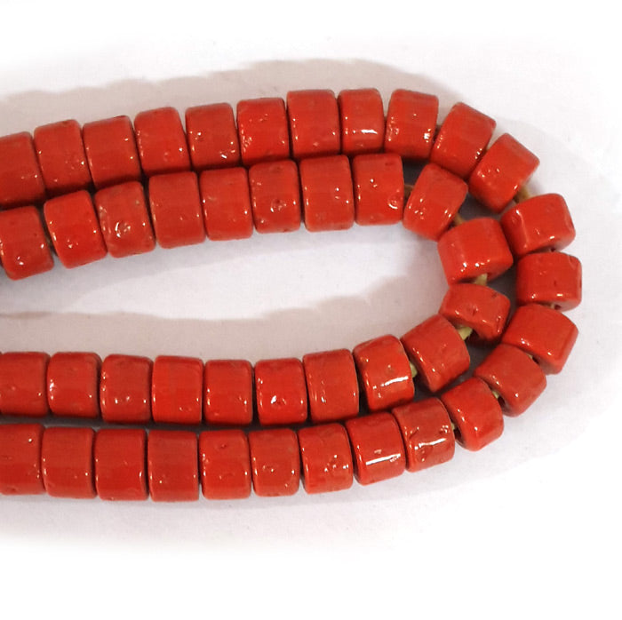 12mm Heishi Nepali Beads Porous Red Color Origin  Hole about 3~4mm By Kilo Approx Pcs in a Kilo about 550~600 Beads