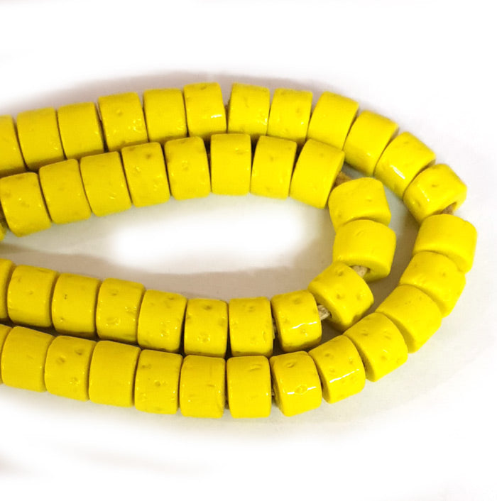 12mm Heishi Nepali Beads Porous Yellow Color Origin  Hole about 3~4mm By Kilo Approx Pcs in a Kilo about 550~600 Beads