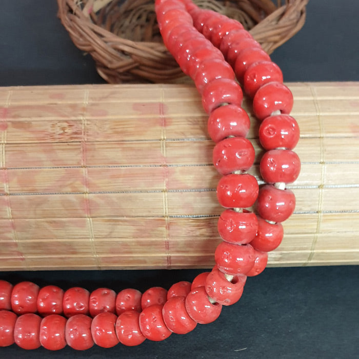 12mm Round Nepali Porous RedColor Origin  Hole about 3~4mm By Kilo Approx Pcs in a Kilo about 550~600 Beads