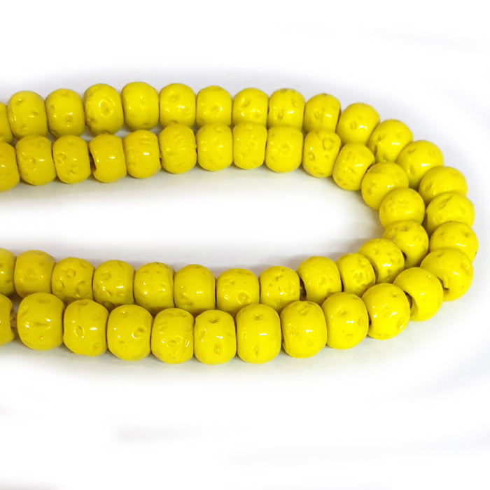 12mm Round Nepali Porous Yellow Color Origin  Hole about 3~4mm By Kilo Approx Pcs in a Kilo about 550~600 Beads