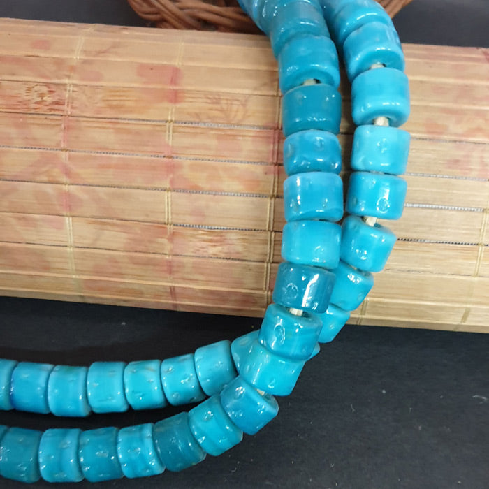 12x14mm Heishi Nepali Porous Turquoise glass Color Origin  Hole about 3~4mm By Kilo Approx Pcs in a Kilo about 450~500 Beads
