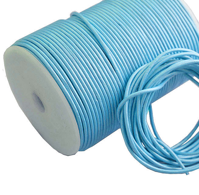 100 Meters More Shade in Metallic Aqua Shade Genuine Round Leather Cords Available in 0.5mm,1mm,2mm,3mm,4mm, Wholesale online india for jewelry making Great for beading, necklaces, Our Round Leather Cord is genuine and finest quality