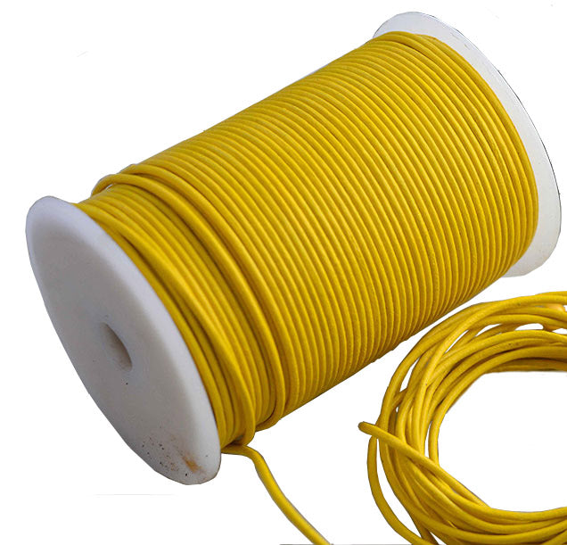 100 Meters More Shade of Yellow Genuine Round Leather Cords Available in 0.5mm,1mm,2mm,3mm,4mm, Wholesale online india for jewelry making Great for beading, necklaces, Our Round Leather Cord is genuine and finest quality