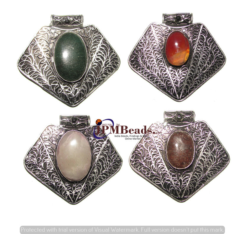 10 Pcs,Agate Stone inlay Silver Oxidized Metal Large Size about 60~70mm bohemian gypsy jewelry Triabl Ethnic Pendant