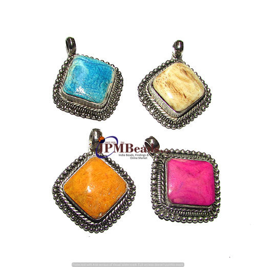 10 Pcs,30mm Square Bone Inlay handmade Tribal pendant for jewelry making
