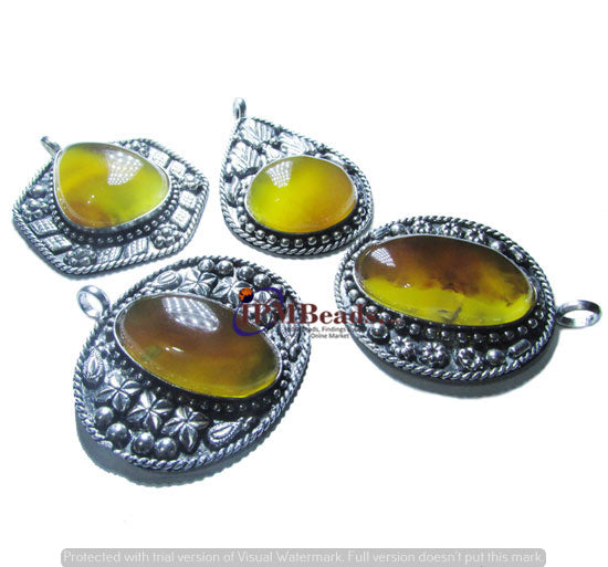 10 Pcs,Mixed Agate Stone inlay Silver Oxidized Metal  Size about 30~40mm bohemian gypsy jewelry Triabl Ethnic Pendant