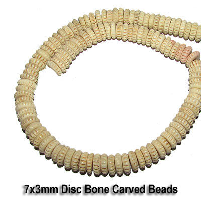 7x3mm, Natural and Dyed, Bone Bead Carved