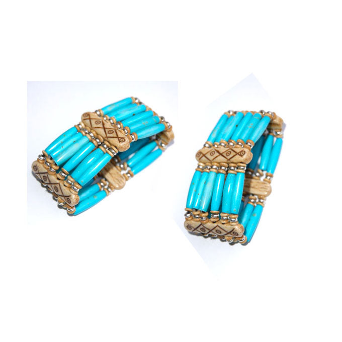 10 Pieces wholesale Bone hair pipe bracelets with multi hole spacer beads Turquoise color