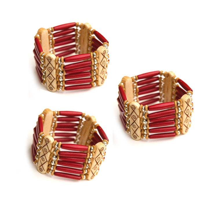 10 Pieces wholesale Bone hair pipe bracelets with multi hole spacer beads Red color