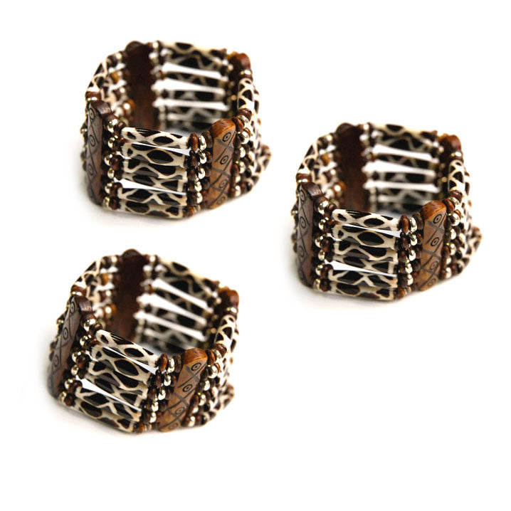 10 Pieces wholesale Bone hair pipe bracelets with multi hole spacer beads Brown antique safari look