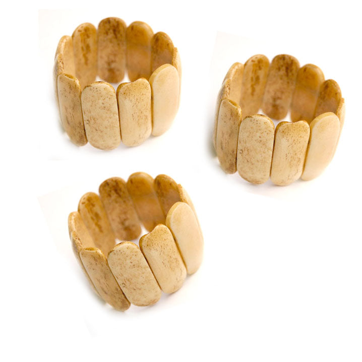 10 Pieces wholesale Bone Antique bangle bracelet for women and girl in strechy cords