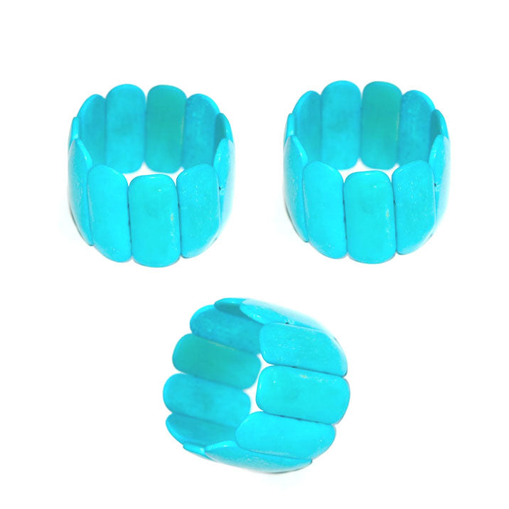 10 Pieces wholesale Bone Turquoise natural dyed bangle bracelet for women and girl in strechy cords