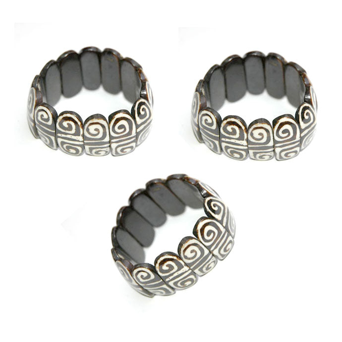 10 Pieces wholesale Tribal Vintage Black Bone Beads Batik jewelry bracelets for girl and women