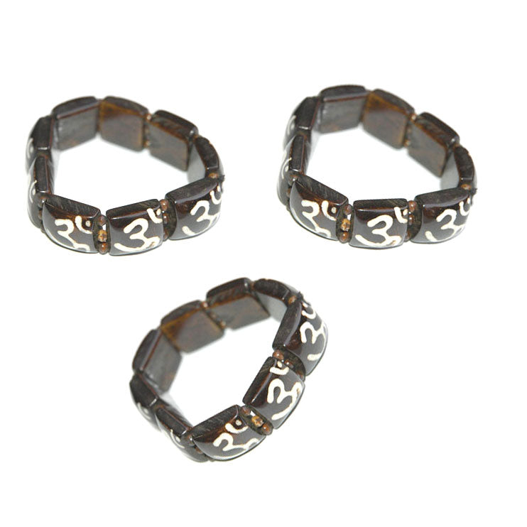 10 Pieces wholesale Tribal OM Ohm Vintage Black Bone Beads Batik jewelry bracelets for girl and women