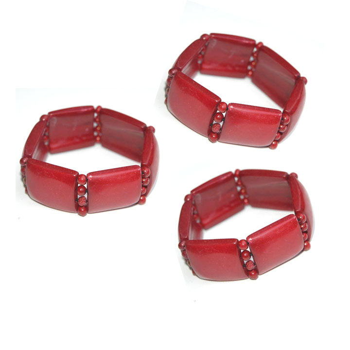 10 Pieces wholesale Bone Red natural dyed bangle bracelet for women and girl in strechy cords